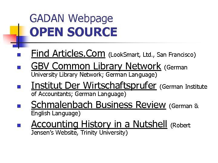 GADAN Webpage OPEN SOURCE n Find Articles. Com (Look. Smart, Ltd. , San Francisco)