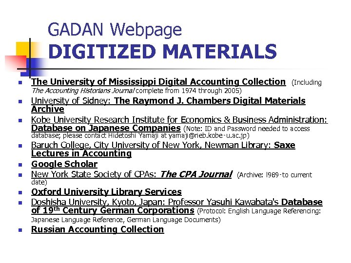 GADAN Webpage DIGITIZED MATERIALS n The University of Mississippi Digital Accounting Collection The Accounting