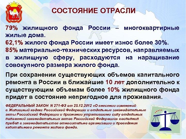СОСТОЯНИЕ ОТРАСЛИ 79% жилищного фонда России – многоквартирные жилые дома. 62, 1% жилого фонда