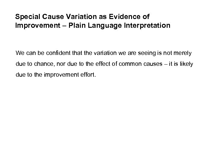 Special Cause Variation as Evidence of Improvement – Plain Language Interpretation We can be