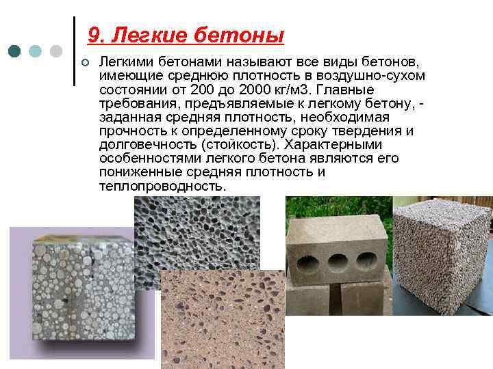 Легкие бетоны виды свойства купить бетон казахстан