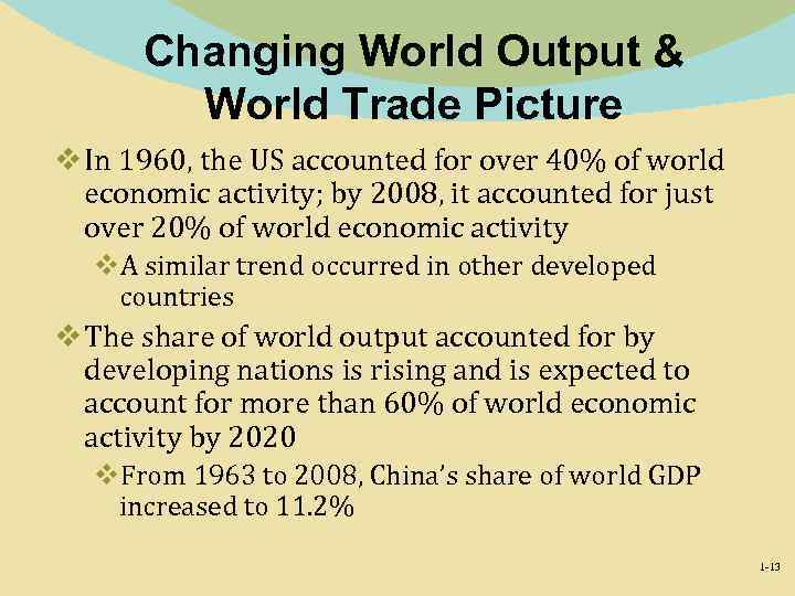 Changing World Output & World Trade Picture v In 1960, the US accounted for