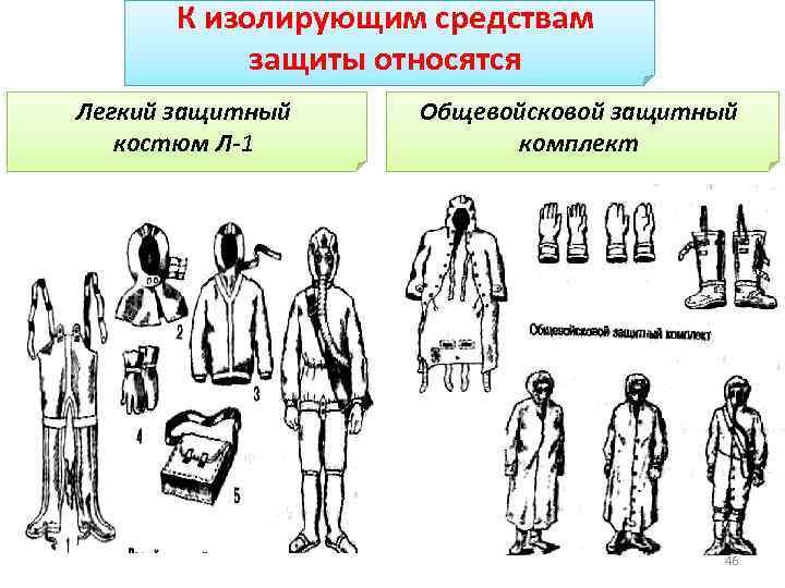 К изолирующим средствам защиты относятся Легкий защитный костюм Л-1 Общевойсковой защитный комплект 46