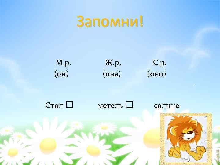 Запомни! М. р. (он) Стол □ Ж. р. (она) метель С. р. (оно) □
