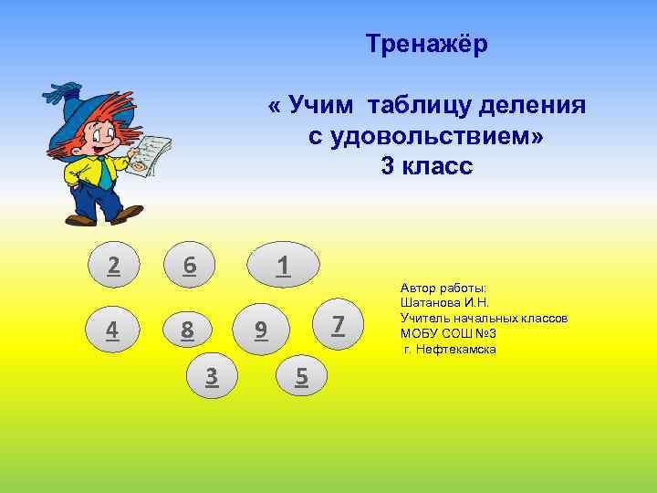 Тренажёр « Учим таблицу деления с удовольствием» 3 класс 2 4 6 1 8