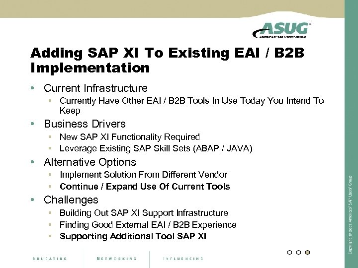 Adding SAP XI To Existing EAI / B 2 B Implementation • Current Infrastructure