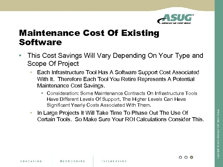 Maintenance Cost Of Existing Software • This Cost Savings Will Vary Depending On Your