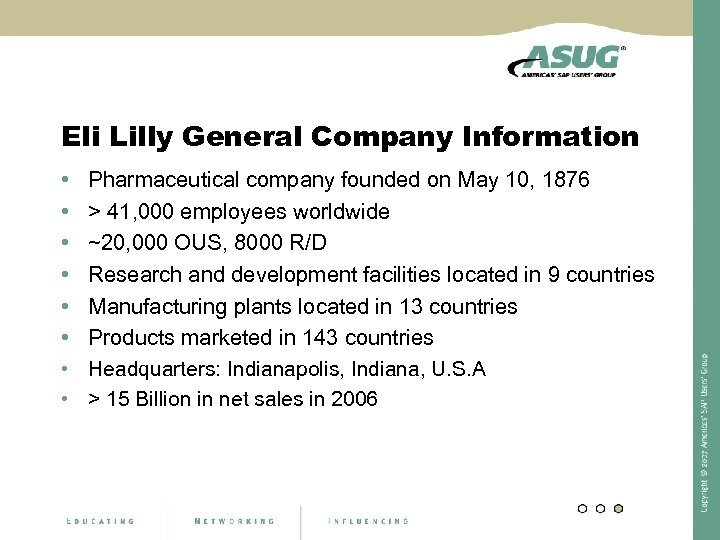 Eli Lilly General Company Information • • Pharmaceutical company founded on May 10, 1876