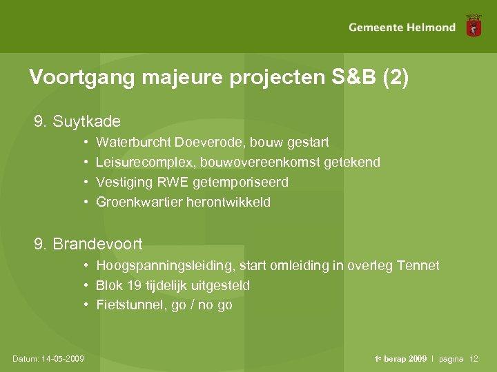 Voortgang majeure projecten S&B (2) 9. Suytkade • • Waterburcht Doeverode, bouw gestart Leisurecomplex,