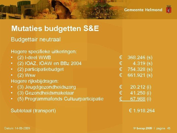 Mutaties budgetten S&E Budgettair neutraal Hogere specifieke uitkeringen: • (2) I-deel WWB • (2)