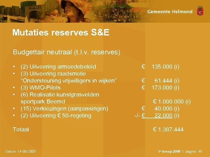 Mutaties reserves S&E Budgettair neutraal (t. l. v. reserves) • (2) Uitvoering armoedebeleid •