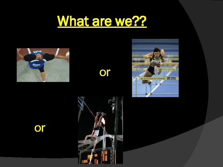 What are we? ? or or