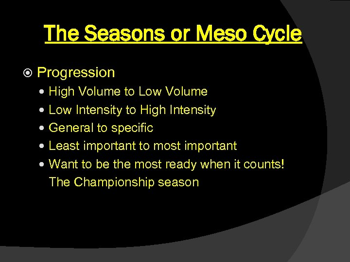 The Seasons or Meso Cycle Progression High Volume to Low Volume Low Intensity to
