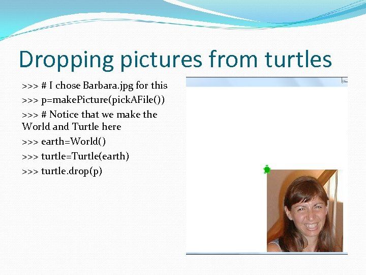 Dropping pictures from turtles >>> # I chose Barbara. jpg for this >>> p=make.