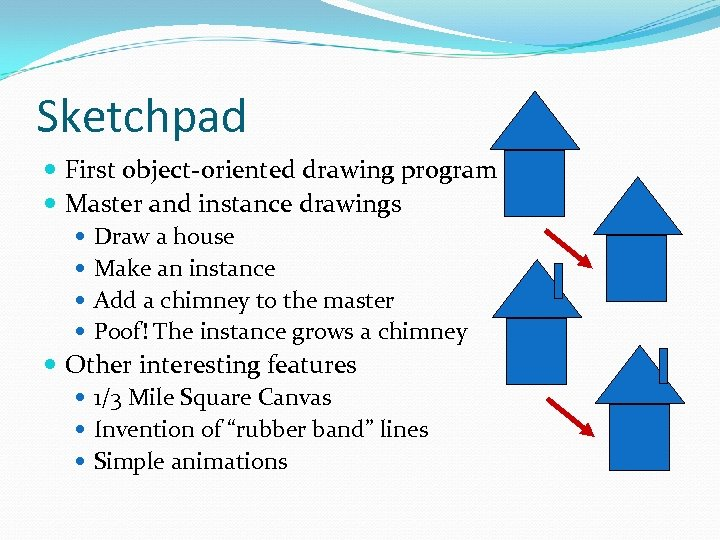 Sketchpad First object-oriented drawing program Master and instance drawings Draw a house Make an