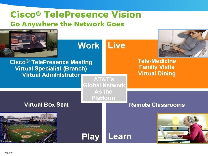 Cisco® Tele. Presence Vision Go Anywhere the Network Goes Work Live Cisco® Tele. Presence