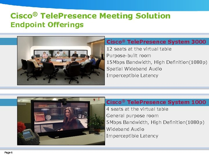 Cisco® Tele. Presence Meeting Solution Endpoint Offerings Cisco® Tele. Presence System 3000 12 seats