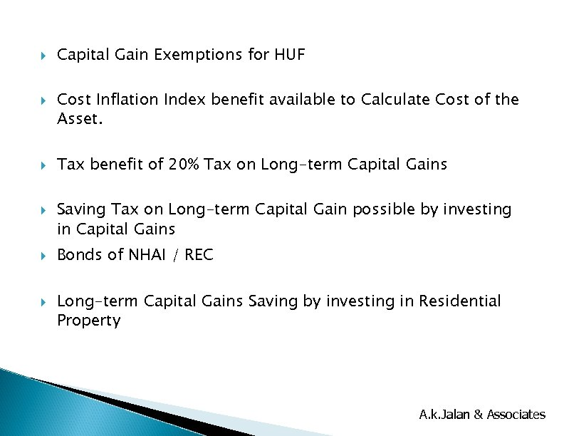 Capital Gain Exemptions for HUF Cost Inflation Index benefit available to Calculate Cost