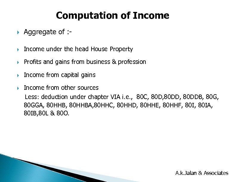Computation of Income Aggregate of : - Income under the head House Property Profits