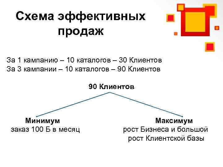 Схема эффективных продаж За 1 кампанию – 10 каталогов – 30 Клиентов За 3
