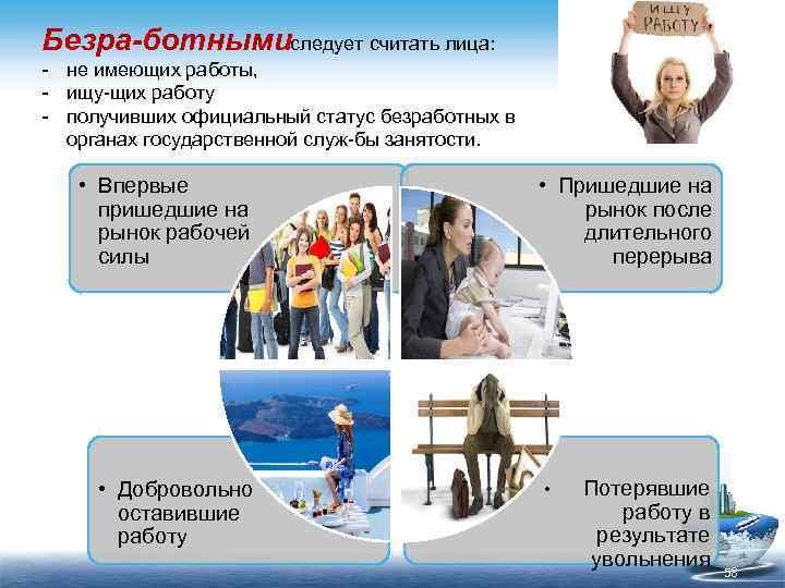Безра ботнымиследует считать лица: не имеющих работы, ищу щих работу получивших официальный статус безработных