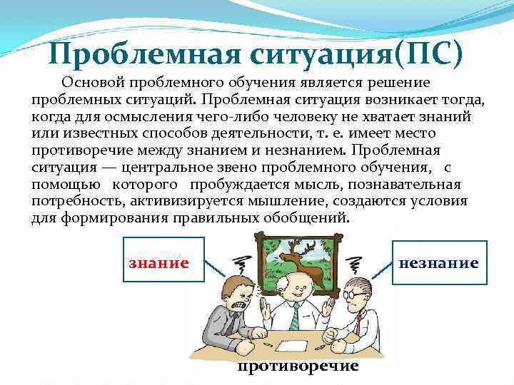 Проблемная ситуация(ПС) Основой проблемного обучения является решение проблемных ситуаций. Проблемная ситуация возникает тогда, когда