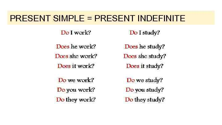 PRESENT SIMPLE = PRESENT INDEFINITE