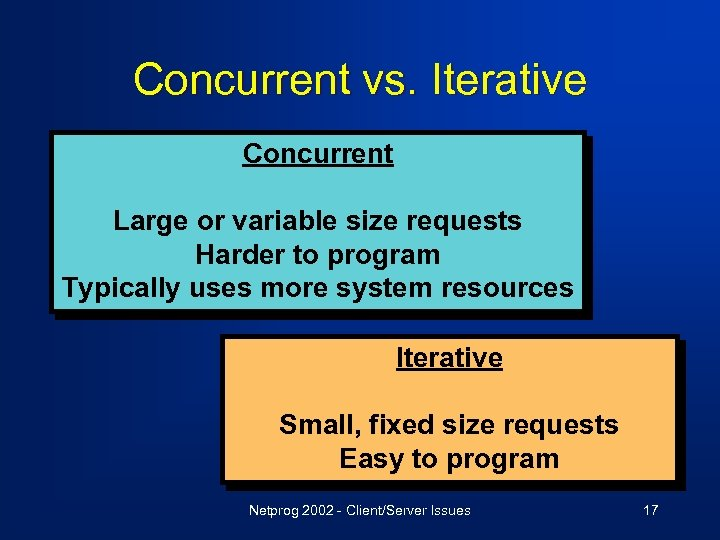 Concurrent vs. Iterative Concurrent Large or variable size requests Harder to program Typically uses