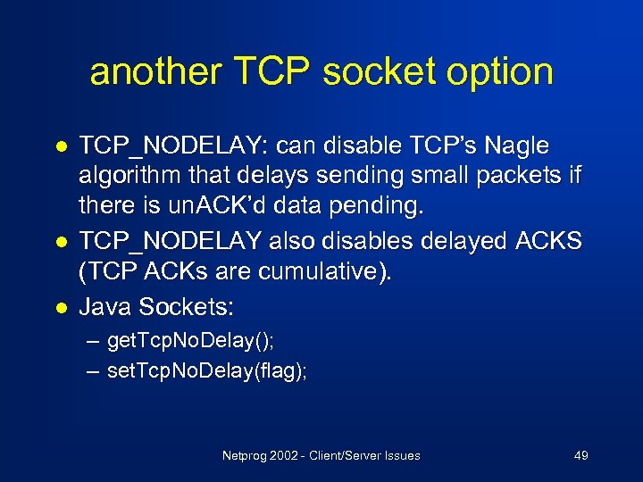 TCP IP Part II Based on Notes by D