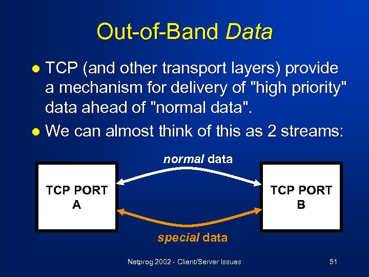 Out-of-Band Data TCP (and other transport layers) provide a mechanism for delivery of