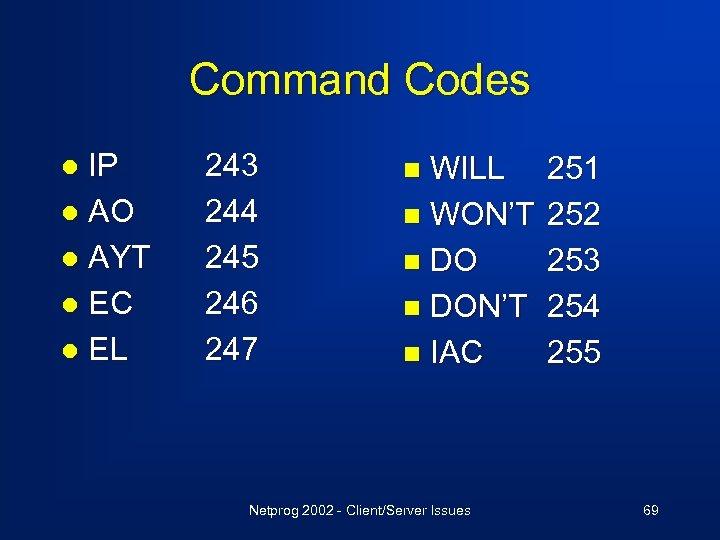 Command Codes IP l AO l AYT l EC l EL l 243 244