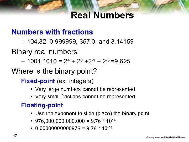 Real Numbers with fractions – 104. 32, 0. 999999, 357. 0, and 3. 14159