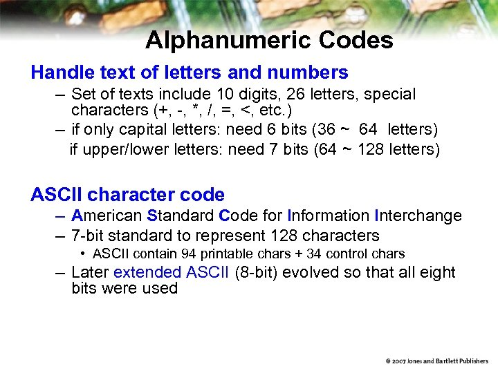 Alphanumeric Codes Handle text of letters and numbers – Set of texts include 10