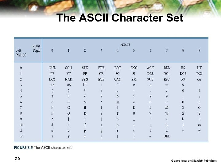 The ASCII Character Set 20