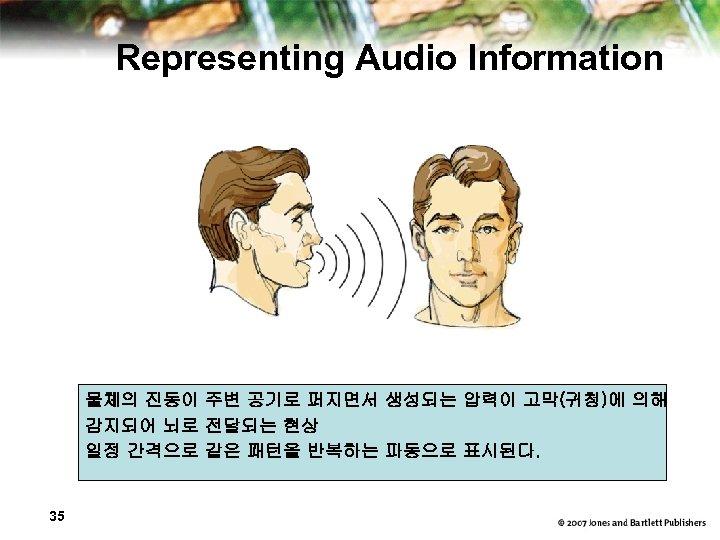 Representing Audio Information 물체의 진동이 주변 공기로 퍼지면서 생성되는 압력이 고막(귀청)에 의해 감지되어 뇌로