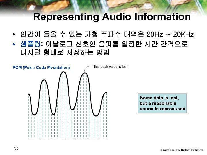 Representing Audio Information • 인간이 들을 수 있는 가청 주파수 대역은 20 Hz ~