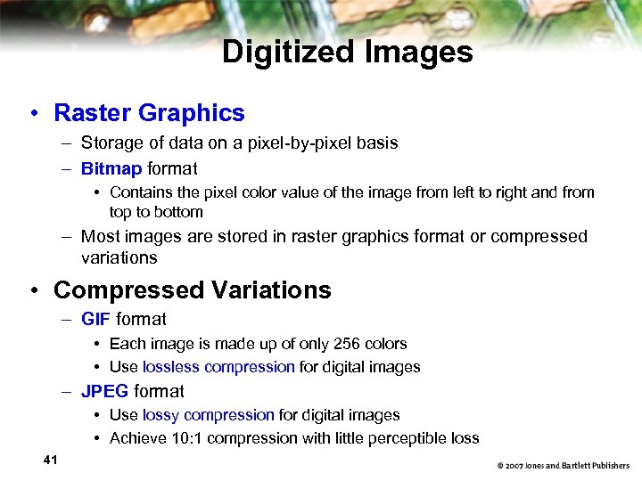 Digitized Images • Raster Graphics – Storage of data on a pixel-by-pixel basis –
