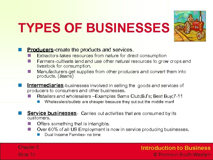 TYPES OF BUSINESSES n Producers-create the products and services. n n n Extractors-takes resources