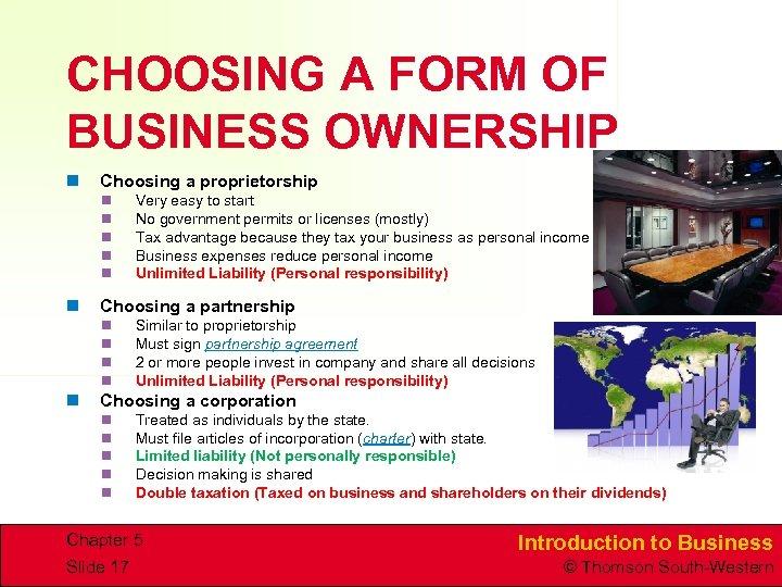 CHOOSING A FORM OF BUSINESS OWNERSHIP n Choosing a proprietorship n n n Choosing