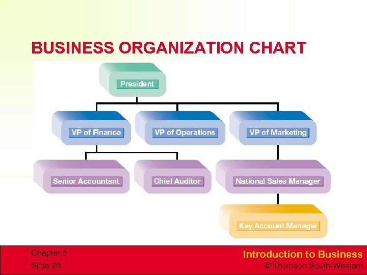 BUSINESS ORGANIZATION CHART Chapter 5 Slide 28 Introduction to Business © Thomson South-Western