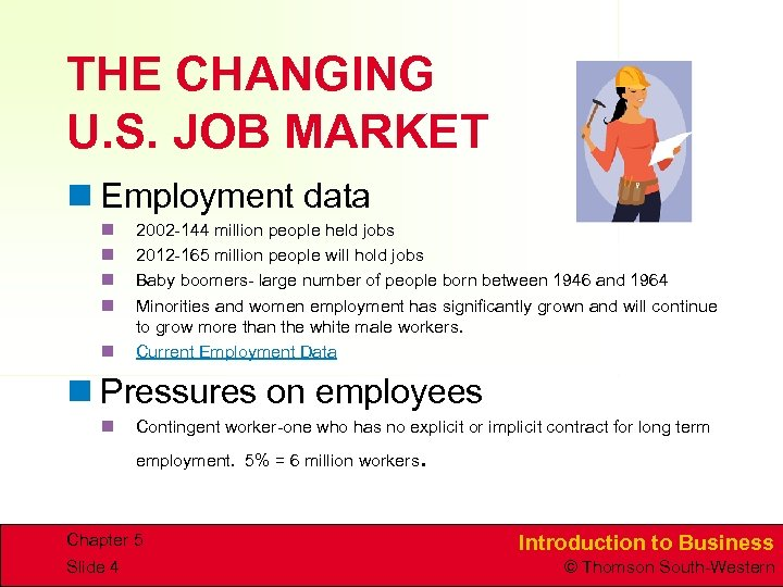 THE CHANGING U. S. JOB MARKET n Employment data n n n 2002 -144