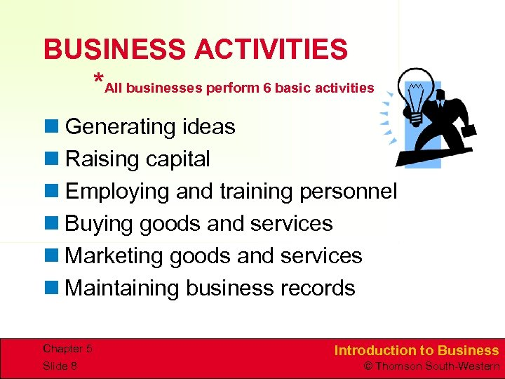 BUSINESS ACTIVITIES *All businesses perform 6 basic activities n Generating ideas n Raising capital