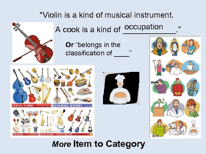 """""""Violin is a kind of musical instrument. occupation A cook is a kind of"""
