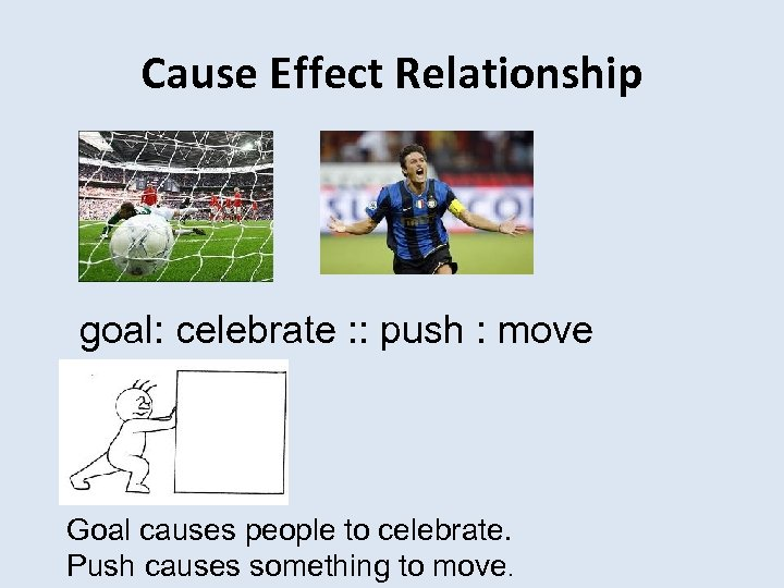 Cause Effect Relationship goal: celebrate : : push : move Goal causes people to