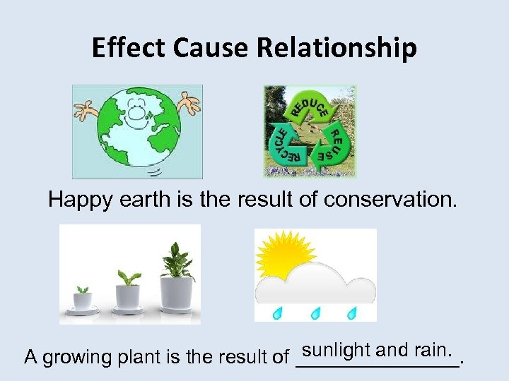 Effect Cause Relationship Happy earth is the result of conservation. sunlight and rain. A