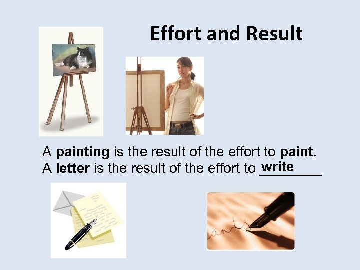 Effort and Result A painting is the result of the effort to paint. write