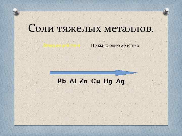 Соли тяжелых металлов. Вяжущее действие Прижигающее действие Pb Al Zn Cu Hg Ag