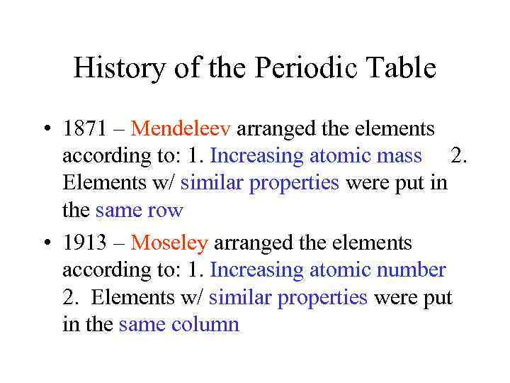 Periodic Table Trends History Of The