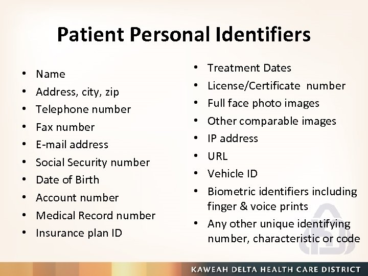 Patient Personal Identifiers • • • Name Address, city, zip Telephone number Fax number