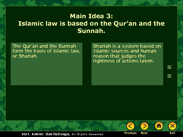 Main Idea 3: Islamic law is based on the Qur'an and the Sunnah. The